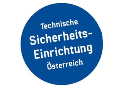 Siegel in blau mit weißer Schrift, Technische Sicherheitseinrichtung in Österreich des Kassensystem