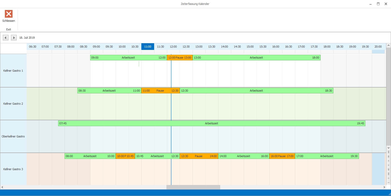Kalenderansicht, Arbeitszeiten in der Gastronomie gesetzeskonform erfassen, Zeiterfassung Add-On, Kassensoftware Erweiterung, GastroSoft
