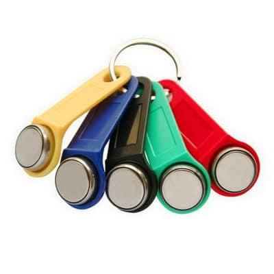 diverse verschieden-farbige (Gelb, Blau, Schwarz, Grün und Rot) Kellnerschlösser als Kassenhardware für ein Kassensystem