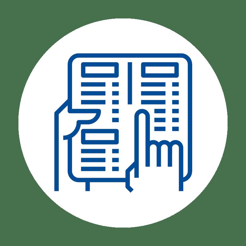 blaues Artikel Warengruppen Icon auf weißem Hintergrund für Kassensoftware und Kassensysteme