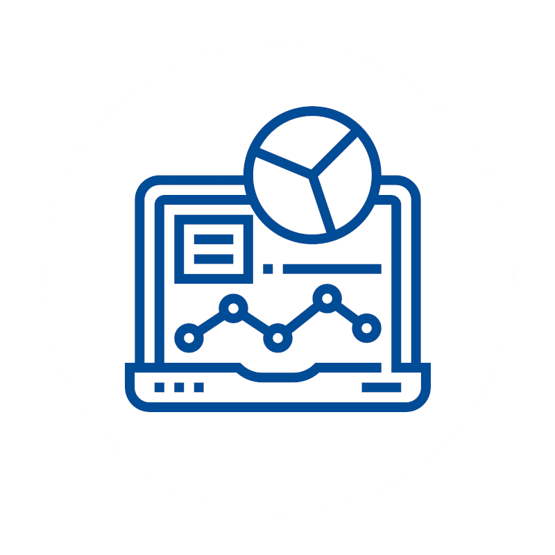 blaues Berichte und Statistiken Icon auf weißem Hintergrund: Kassensoftware Erweiterungen, Verwaltung und Einsichten