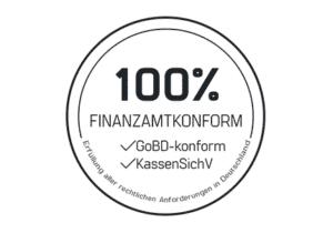 Siegel mit schwarzer Schrift, Finanzamtkonform: GoBD-konform und KassenSichV | Erfüllung aller rechtlichen Anforderungen in Deutschland