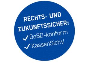 Siegel in blau mit weißer Schrift, Rechts- und Zukunftssicher: GoBD-konform und KassenSichV, Finanzamtkonform