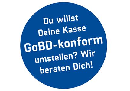 Siegel in blau mit weißer Schrift, Du willst Deine Kasse GoBD-Konform (Finanzamtkonform) umstellen? Wir beraten Dich!