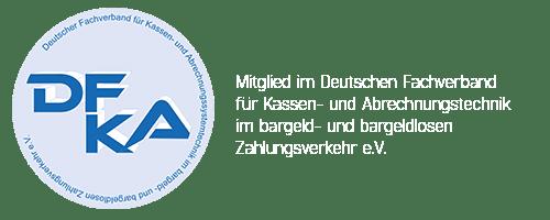DFKA Logo, Mitglied im Deutschen Fachverband für Kassen- und Abrechnungstechnik im bargeld- und bargeldlosen Zahlungsverkehr e.V.