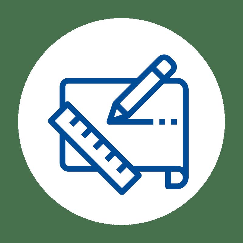 blaues Lineal Stift und Papier Icon für Kassensoftware Lösungen