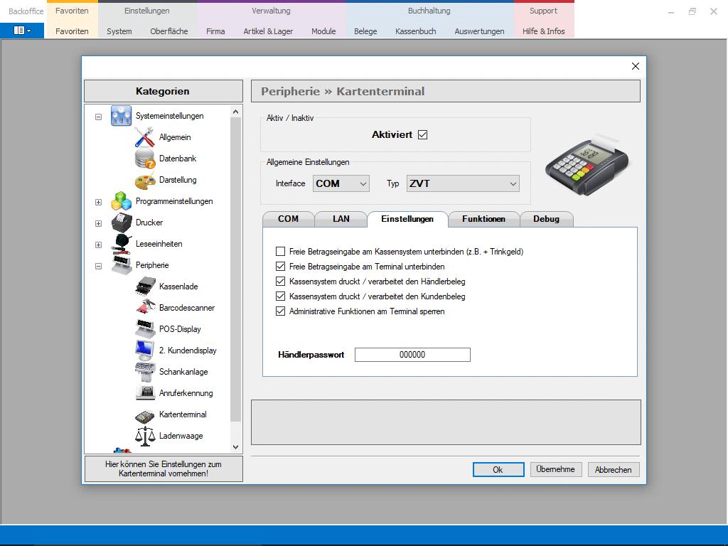 EC-Kartenmodul Screenshot der Einstellungen EC und Kreditkartengeräte - Kartenzahlung Add-On Erweiterung im Kassensystem