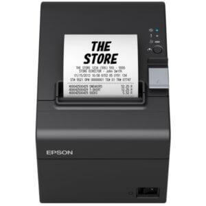 schwarzer Kassenzetteldrucker druckt Kassenbon - Kassendrucker Epson TM T20III als Kassenhardware im Kassensystem