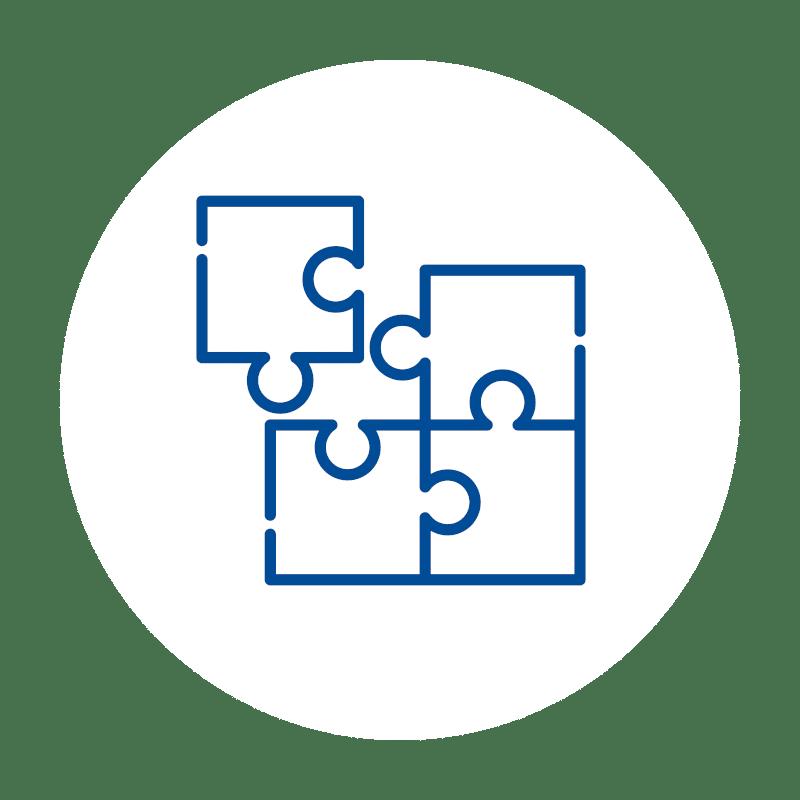 vierteiliges Puzzel Icon in blau auf weißem Hintergrund wobei ein Puzzelteil noch nicht eingesetzt ist: für Kassensoftware Addon Erweiterungen