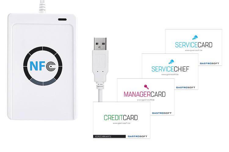 Kassensystem RFID - Event Add-On von GastroSoft, Kassensoftware Erweiterung NFC RFID Lesegerät, Karten für Service und Manger