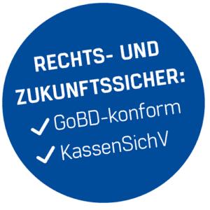 Blauer Kreis, weiße Schrift, Rechts- und Zukunftssicher: GoBD-Konform, KassenSichV, Finanzamt-konforme Kassensoftware