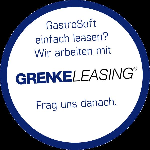 weißer Kreis mit blauer Kontur - GastroSoft einfach leasen? Wir arbeiten mit GRENKE LEASING Frag uns dannach.