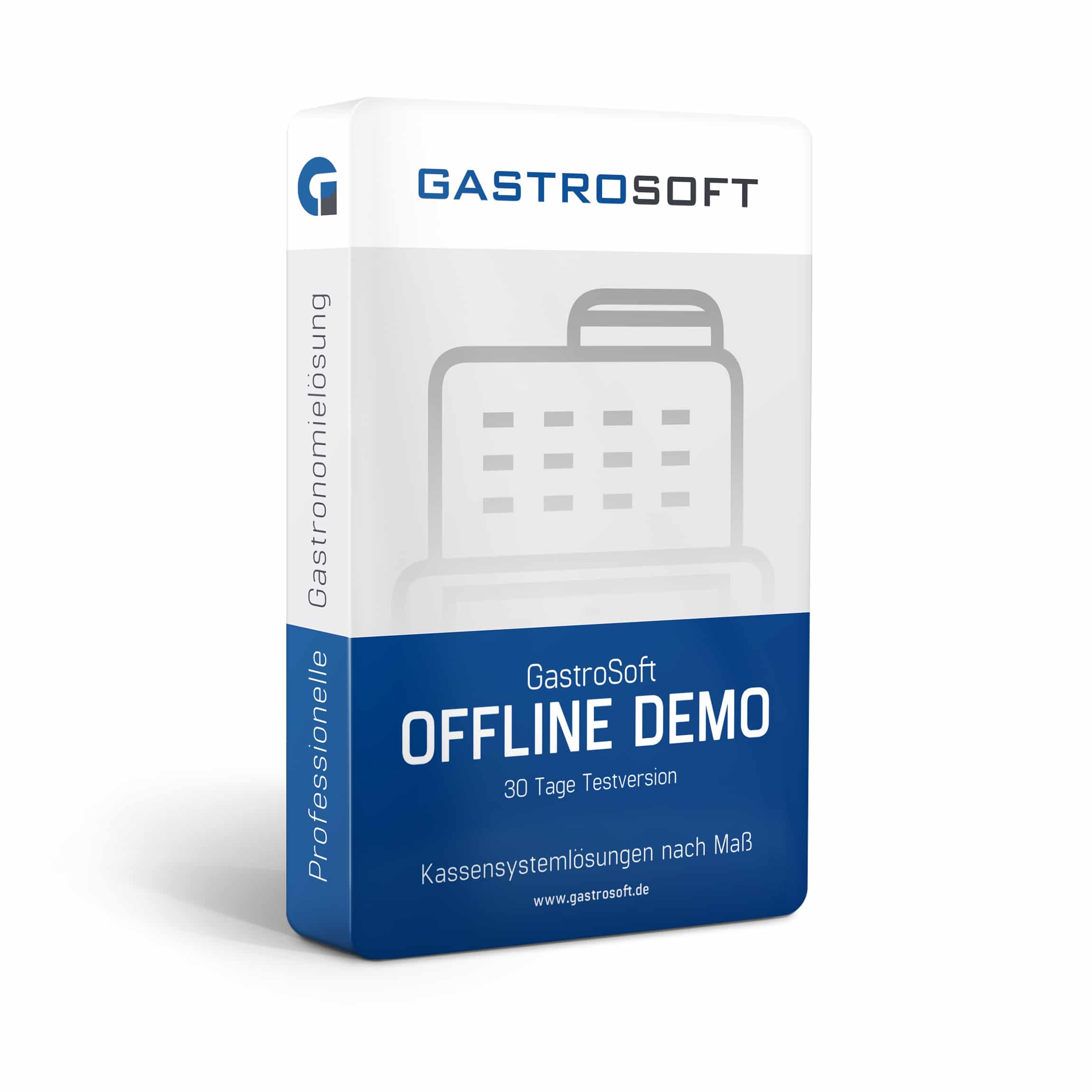 Verpackung einer professionellen Kassensoftwarelösung, 30-Tage-Testversion, Kassensoftware - GastroSoft Offline Demo