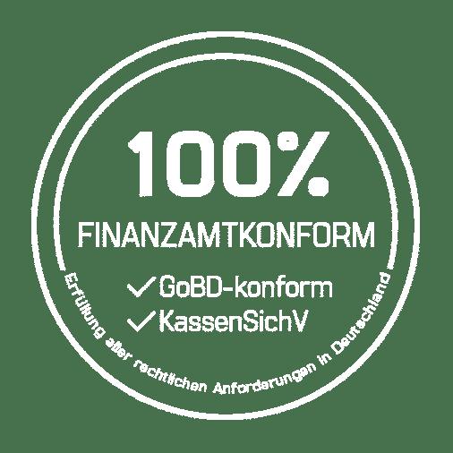 Siegel mit weißer Schrift, Finanzamtkonform: GoBD-konform und KassenSichV | Erfüllung aller rechtlichen Anforderungen in Deutschland