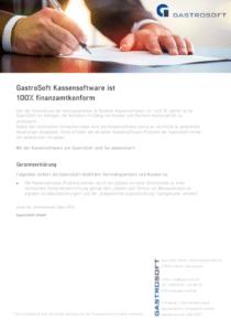 GastroSoft Garantieerklärung, finanzamt-konforme Kassensoftware