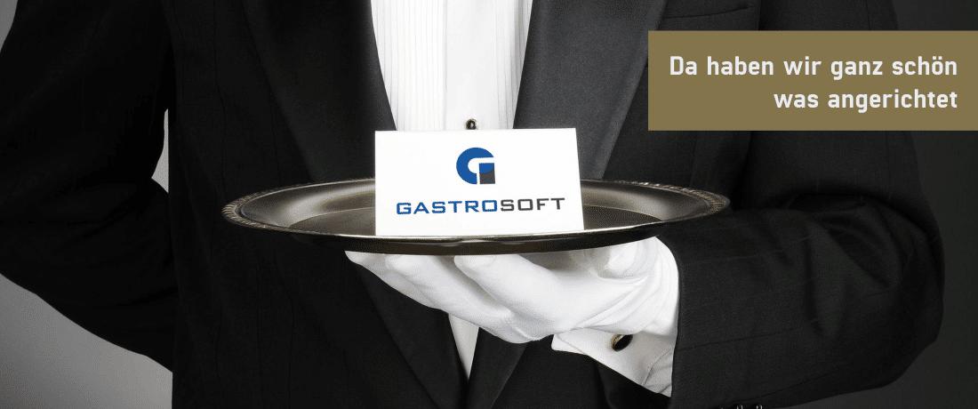 GastroSoft Club karte auf Tablett gehalten von einer Person im Anzug, Mitgliedschaft für Kassensoftware, Kassensystem und PosSoft Pro von GastroSoft