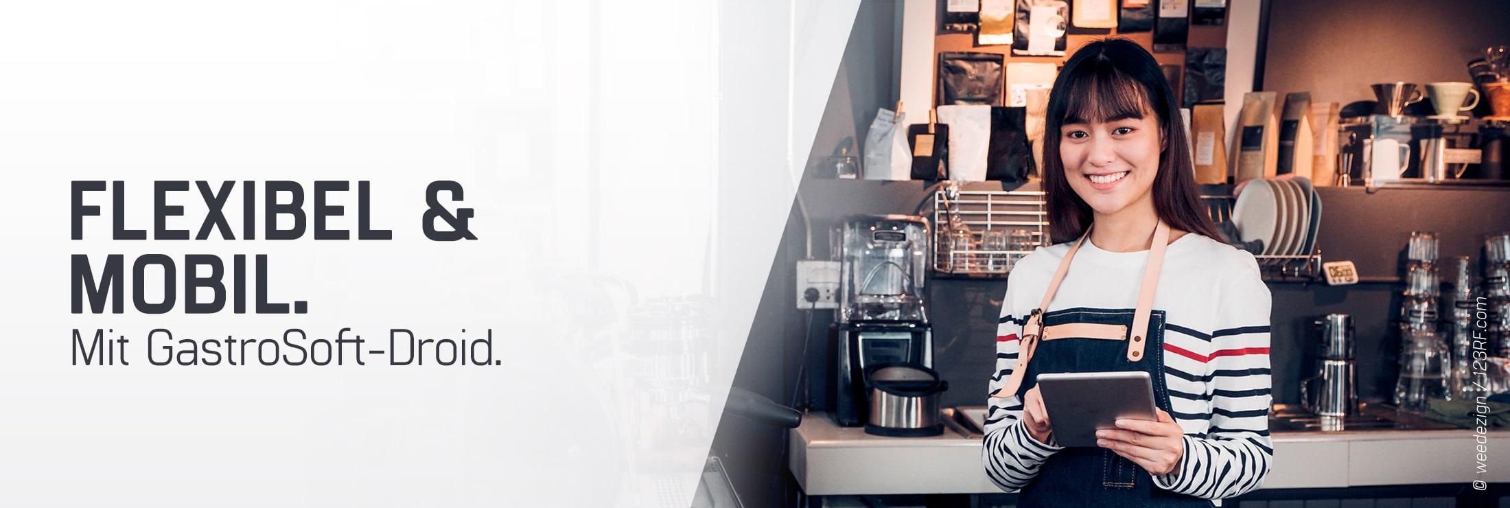 braunhaarige Frau im weiß-gestreiften pullover in einem Cafe als Kellnerin oder Barista stehend für Droid mobile Bestelllösung