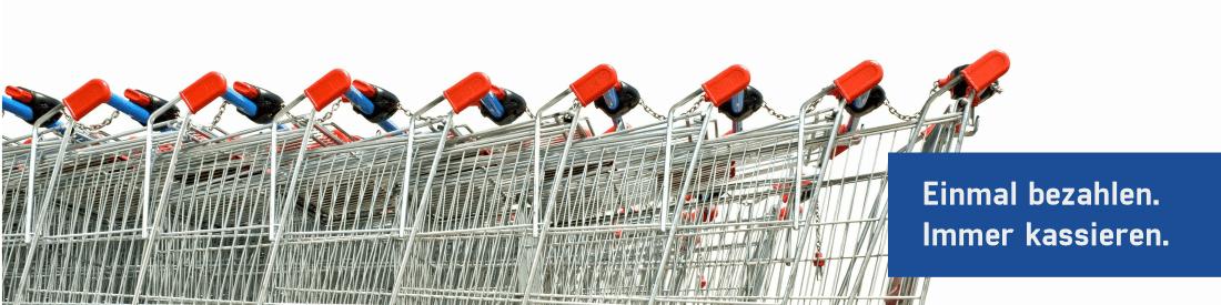 Einkaufswagen in silber für ein Shop in der PosSoft als Kassensoftware mit Kassenerweiterungen im Kassensystem benutzt wird
