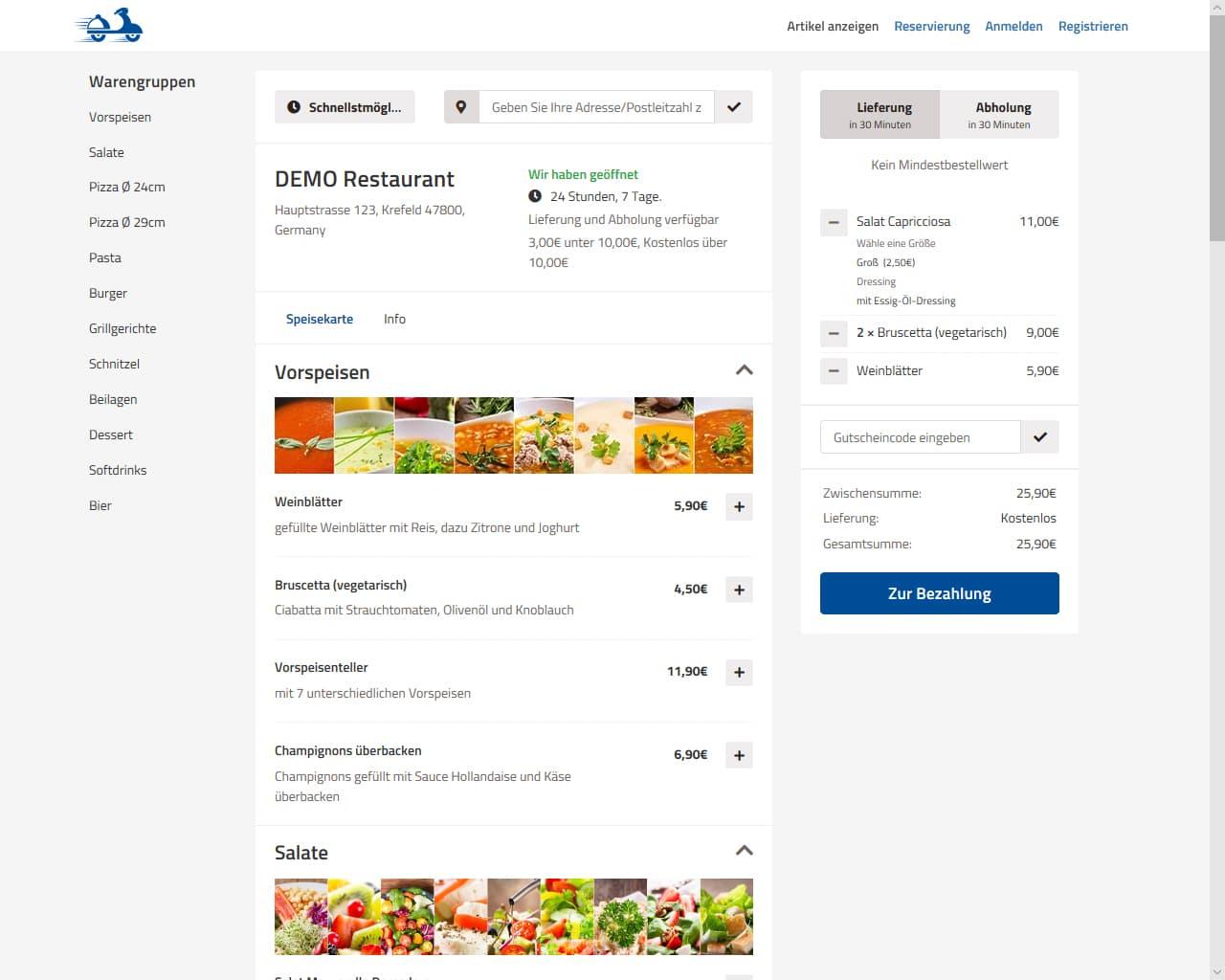 Artikelbestellung im GastroSoft Lieferdienst Online-Shop - Anbindung an Kassensoftware von GastroSoft möglich