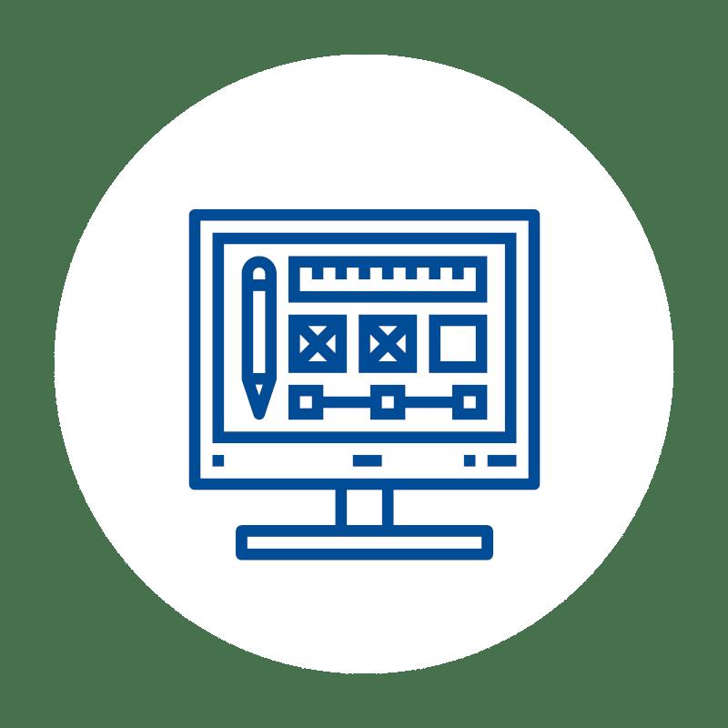 blaues Designer Monitor Icon auf weißem Hintergrund: für Anpassbare und Erweiterbare Kassensoftware und Kassensysteme