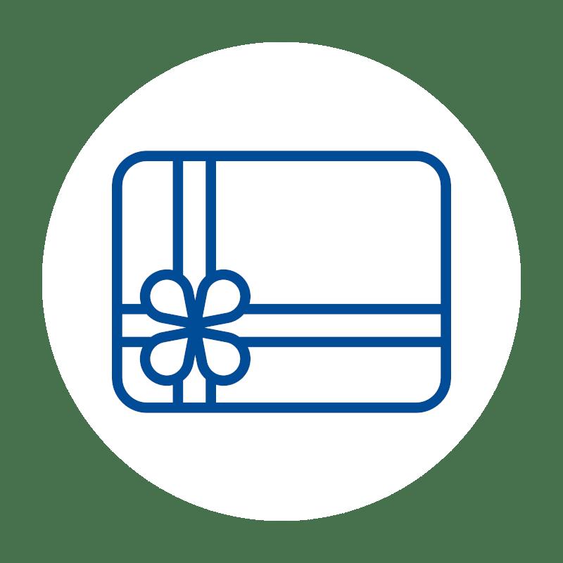 blaues Geschenk Icon auf weißem Hintergrund: für die Gutscheinverwaltung in der Kassensoftware des Kassensystems