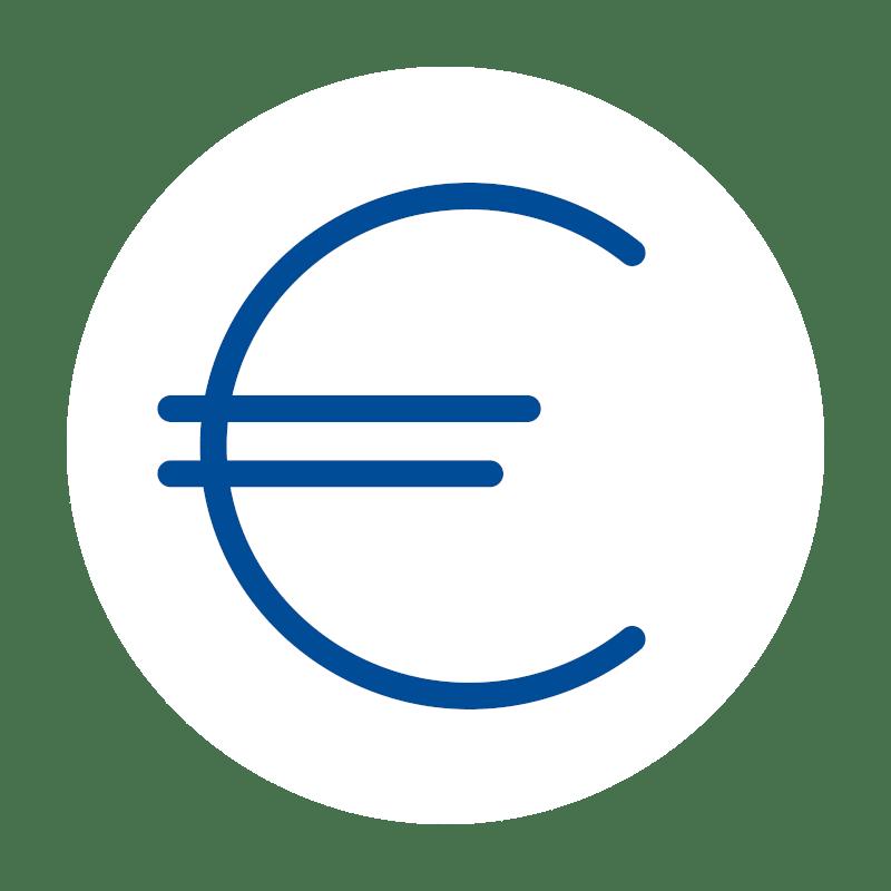 blaues Euro icon auf weißem Hintergrund: für Preiswerte Kassensoftware und Kassenlösungen von GastroSoft