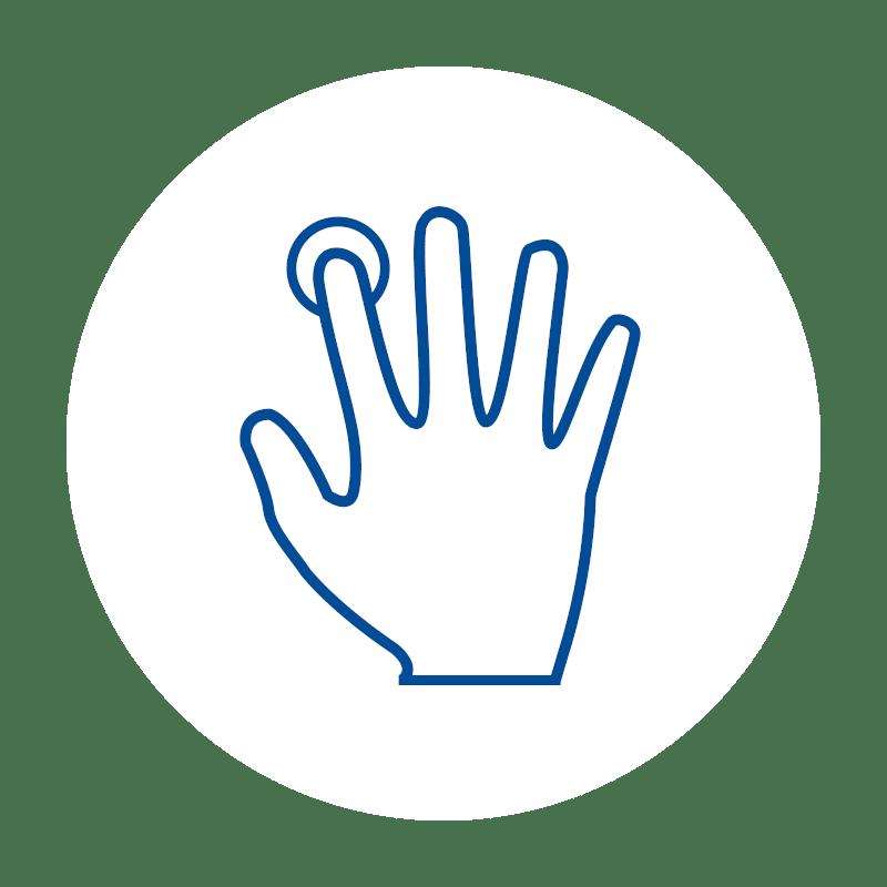 blaues Hand für Intuitive Bedienung icon auf weißem Hintergrund: für moderne Touch Kassensoftware und Mitarbeiter