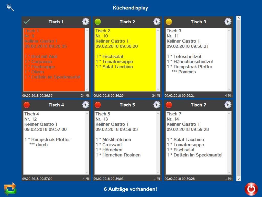 Küchendisplay, Addon Erweiterung der Kassenhardware als Screenshot - Hauptanzeige der Tische und jeweiligen Bestellungen