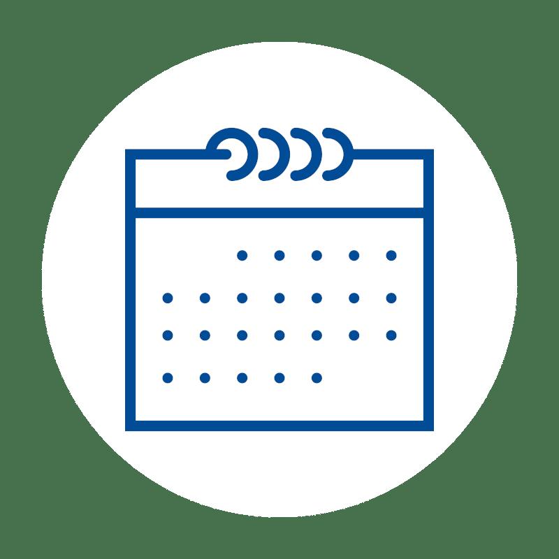 blaues Kalender Icon auf weißem Hintergrund: für die zuverlässige Kalenderfunktion der Kassensoftware im Kassensystem