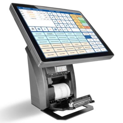 Eingeschaltetet Kassenterminal in grau-schwarz - Kassenhardware mit Touch-Display, Kasse mit offener Klappe für Kassenbelege
