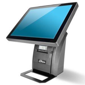 Zonerich 15 Zoll Kassenterminal mit integriertem Kassendrucker - Vorderansicht mit Monitor und Kassenzetteldrucker/Bondrucker in schwarz