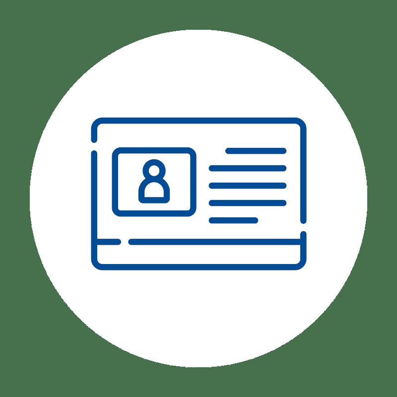 blaues Kundenfunktion Icon auf weißem Hintergrund: für Kundenverwaltung und Stammkundenfunktion der Kassensoftware des Kassensystems