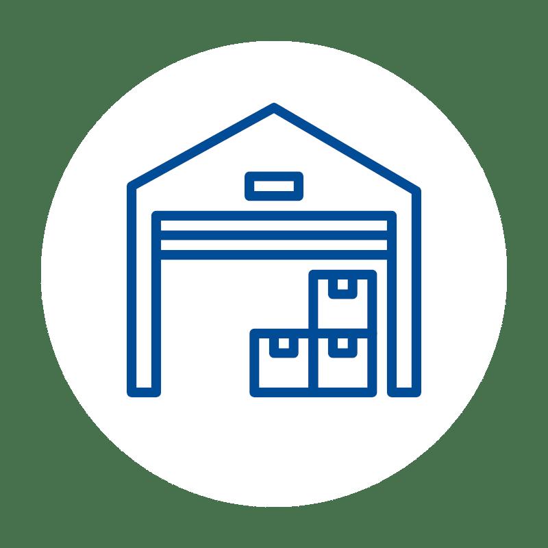 blaues Lager mit Paketen Icon auf weißem Hintergrund: für Lagerverwaltung und Bestandsverwaltung im Kassensystem