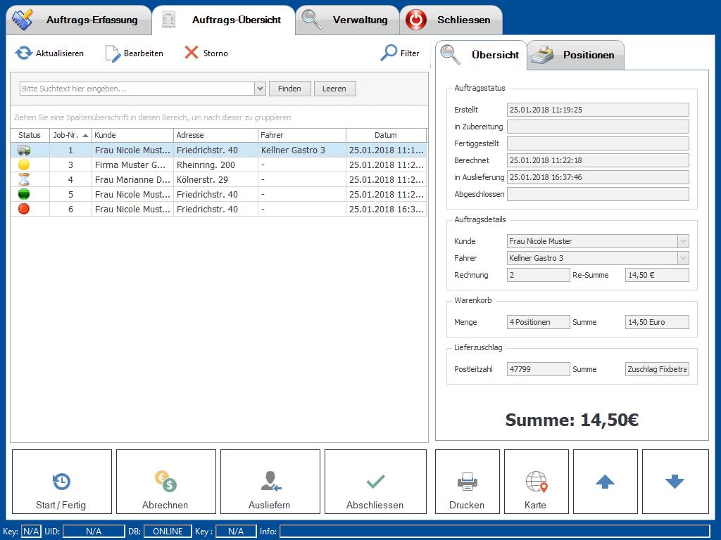 Auftragsübersicht - Abrechnen Ausliefern Drucken - Screenshot Liefer Add-On Erweiterung der Kassensoftware