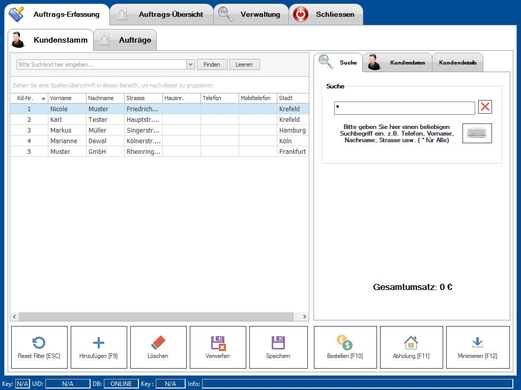Lieferdienst Kundenstamm Verwaltung - Screenshot der Stammkunden-Tabelle in der Add-On Erweiterung der Kassensoftware