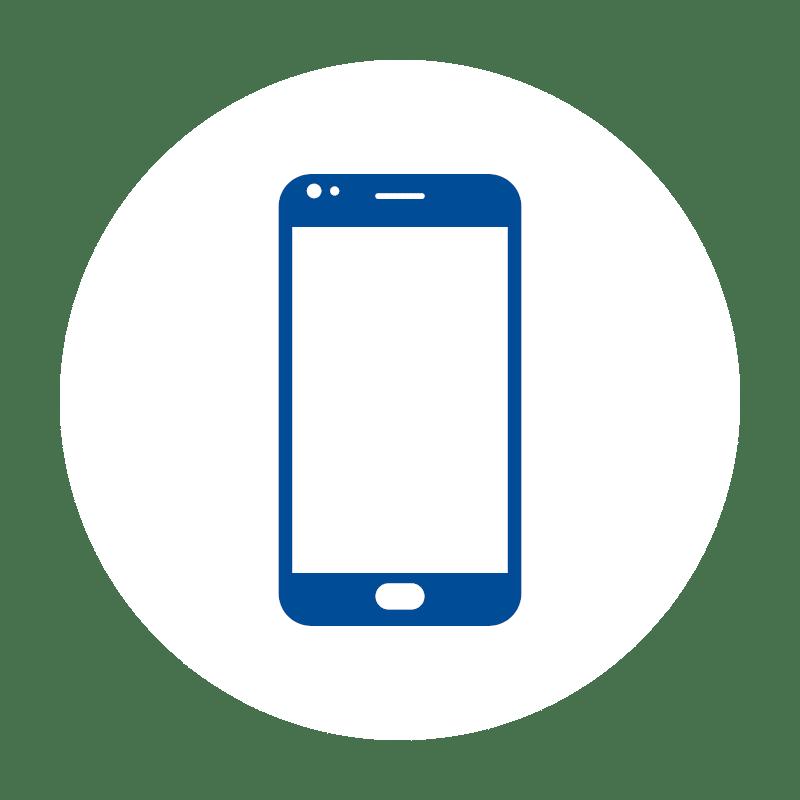 blaues Smartphone Icon auf weißem Hintergrund: für Mobile Kassensoftware und Terminals im Kassensystem