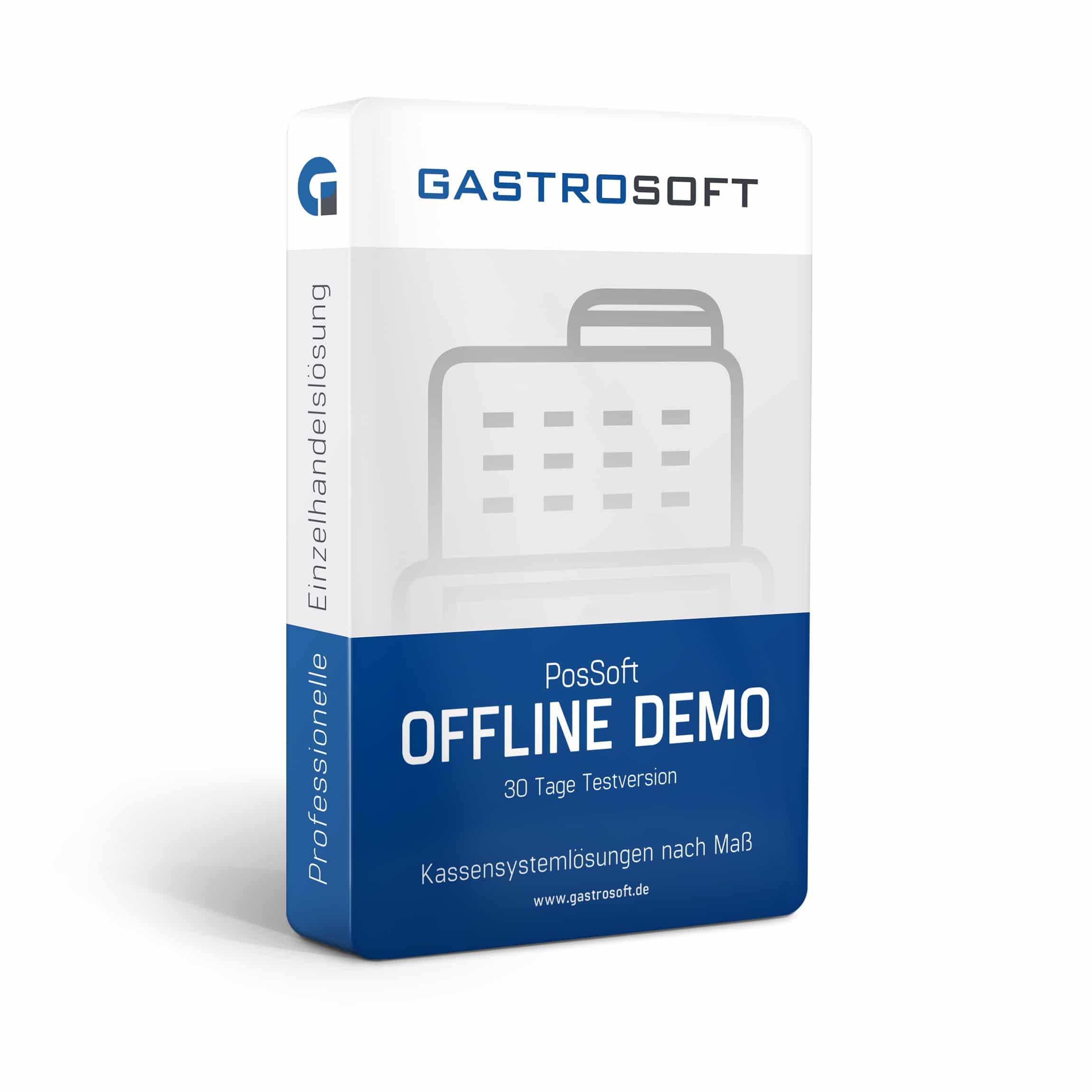 Verpackung einer professionellen Kassensoftwarelösung, 30-Tage-Testversion, Kassensoftware - PosSoft Offline Demo