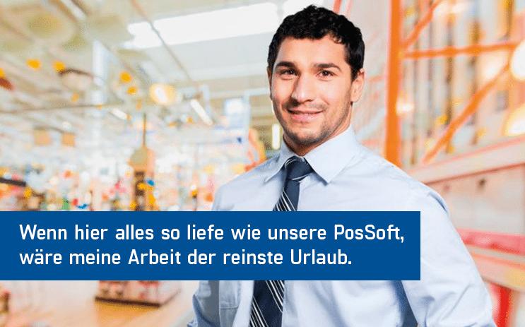 Braunhaariger Unternehmer im Hemd mit Krawatte der mit der PosSoft Einzelhandel Kassensoftware - TSE Kassensystem