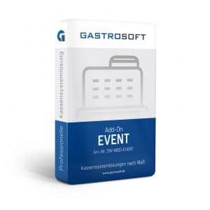 Verpackung einer professionellen Kassensoftwarelösung, Kassensystemlösung, Zusatzmodul - Add-On Event