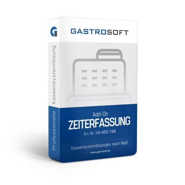 Verpackung einer professionellen Kassensoftwarelösung, Kassensystemlösung, Zusatzmodul - Add-On Zeiterfassung