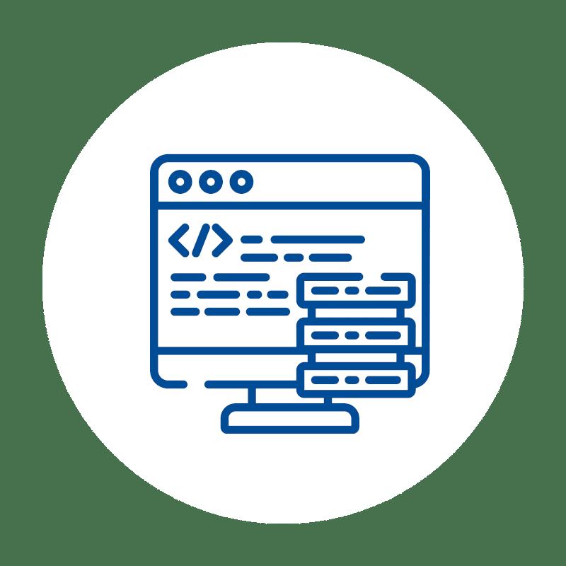 blaues Monitor Code Icon auf weißem Hintergrund: für skalierbare Leistungsfähigkeit der Kassensoftware und des gesamten Kassensystems