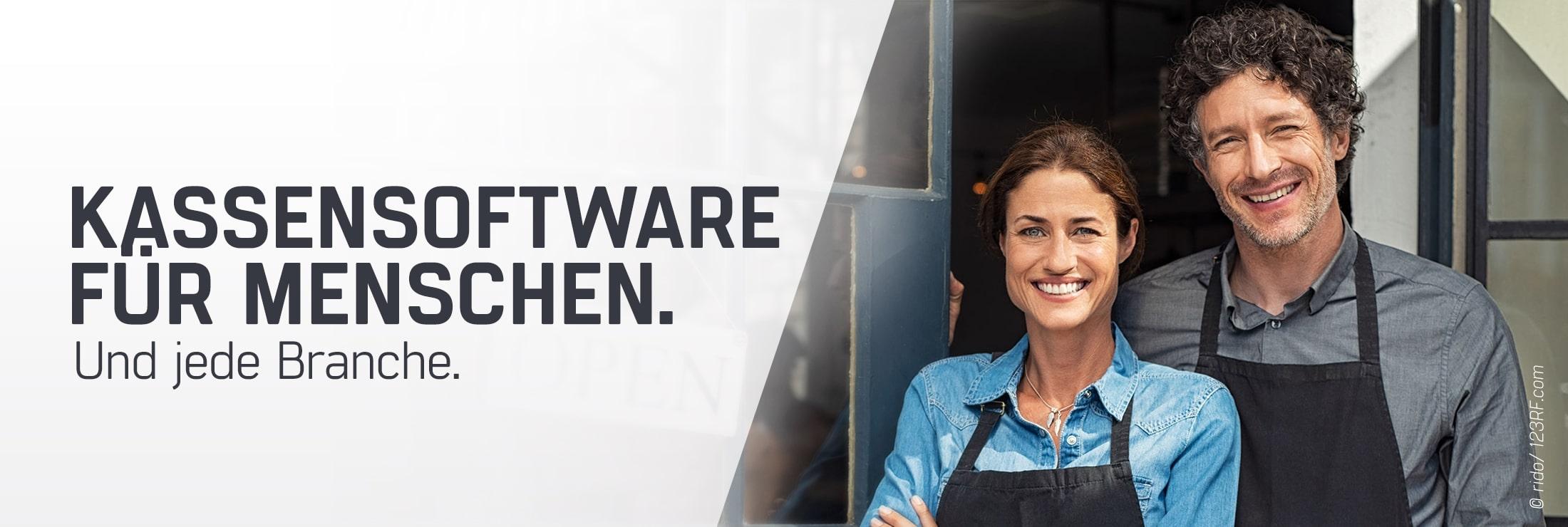 Mann und Frau vor einem Einzelhandel bzw. Gastronomie Betrieb der geöffnet hat, beide sind glücklich mit ihrem TSE Kassensystem von GastroSoft