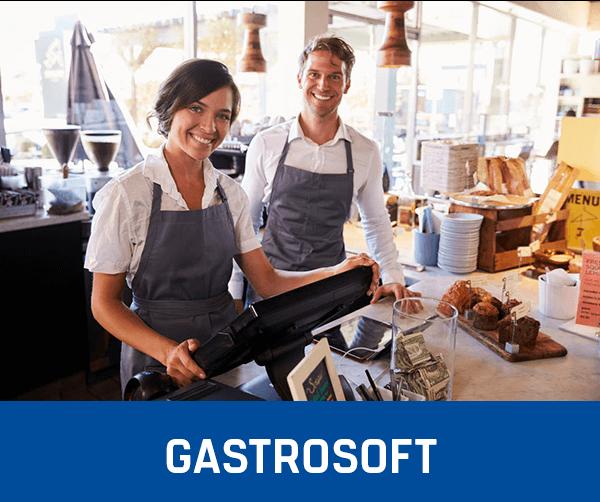 Mann und Frau glücklich mit ihrem Kassensystem, Kassensoftware und Support von GastroSoft