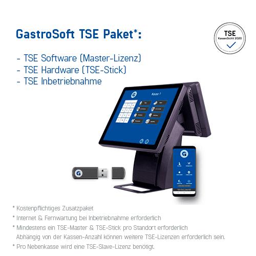 GastroSoft TSE Paket: TSE Software (Master-Lizenz), TSE-Hardware (TSE-Stick) und TSE Inbetriebnahme