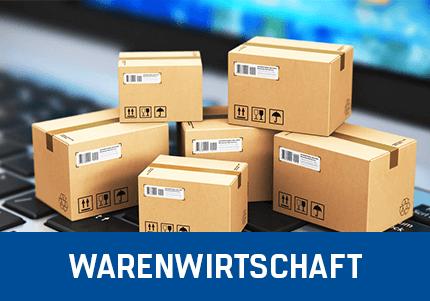 Kassensoftware Erweiterung Warenwirtschaft Add-On von GastroSoft, sechs gestapelte Packete im Hintergrund ein Notebook