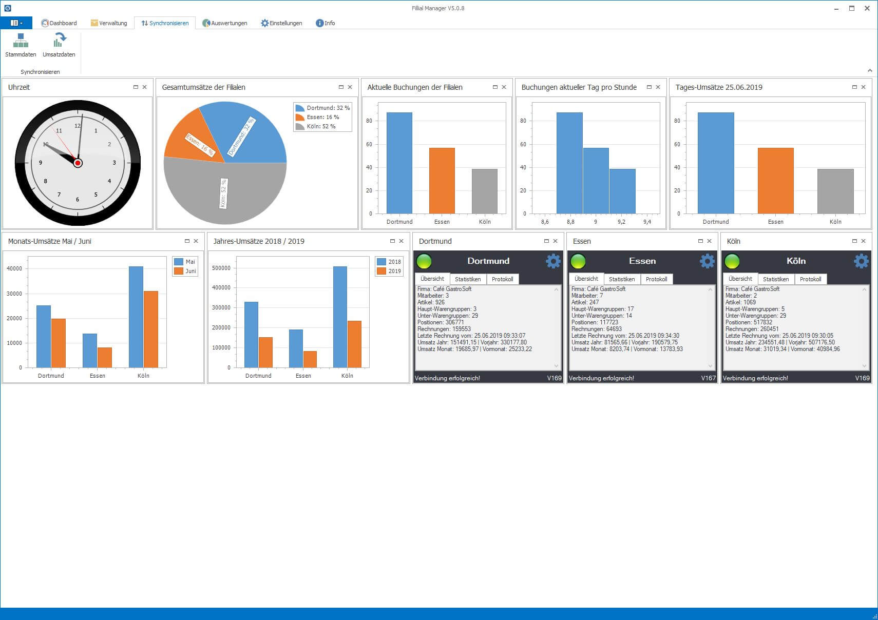 Filial Add-On Kassensoftware Erweiterung mit Uhrzeit Statistiken und Verwaltung
