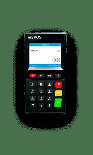 myPOS Go Gerät Frontalansicht als Zahlungsterminal für mobile Zahlungslösungen der Kassenhardware im Kassensystem