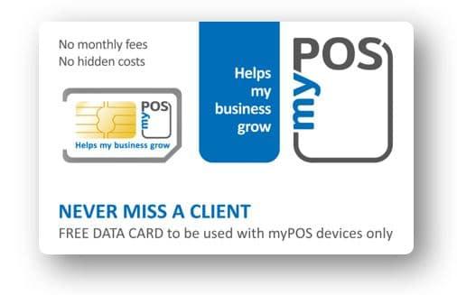 Kostenlose myPOS SIM-Karte für mobile Zahlungsterminals des myPOS an der Kassenhardware mit Kassensoftware im Kassensystem