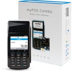 Eingeschaltetes myPOS Combo in Schwarz im Hintergrund die Verpackung, Mobiles POS Terminal