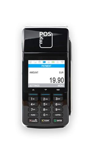 Eingeschaltetes myPOS Combo in Schwarz, Mobiles POS Terminal mit Display und Tasten - Kassenhardware des Kassensystems für Kartenzahlung